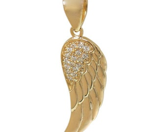 Pave Angel's Wing Pendant/Necklace In Gold Or Rhodium Plated Sterling Silver