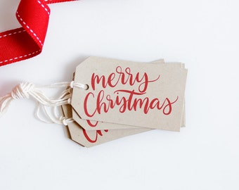 Hand Lettered Merry Christmas Gift Tags - Happy Holidays - Kraft Christmas Packaging - Hanging Tags