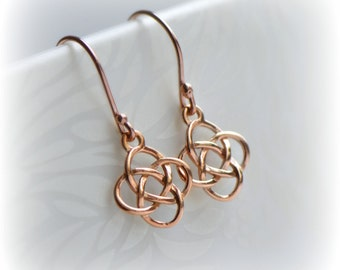 Rose Gold Celtic Earrings, Irish Love Knot Earrings, Rose Gold Earrings, Rose Gold Vermeil Earrings, Rose Gold Dangle Earrings, Gift for Her