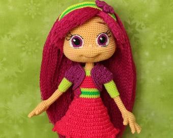 Raspberry Torte - Handmade crochet doll