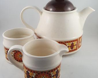 MId Century Sadler Tea Pot and Cream and Sugar Set