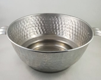 Cool Hammered Aluminum Bowl with Scalloped Handles