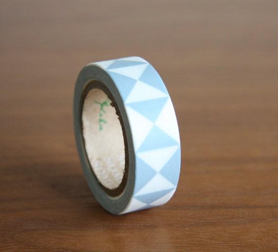 Washi tape blue triangle geometric tape wall decor by for Geometric washi tape designs