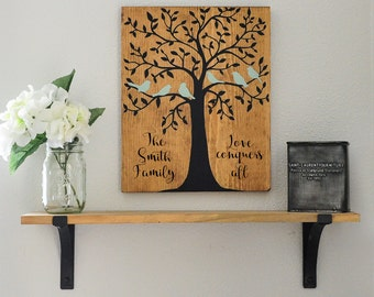 Family Tree Wood Sign, Tree of Life Sign, Family Sign, Family Sign with Quote, Personalized Sign, Personalized Family Sign, 11x13