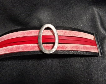Silver, red and black multi-strand leather cuff bracelet
