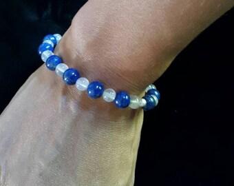 Lapis lazuli and rose quartz cristal bead bracelet