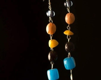 Multi Colored Bead and Stone Earrings