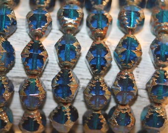 Czech Glass Beads, Faceted Bi-Cone Sapphire Blue, 15 Beads, 8x10mm
