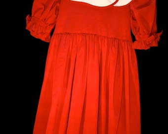 1980s Red Dress Made By Simi//Size 8 Girls Dress//Vintage Girls Red Dress