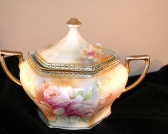 1911-1932 Johann Seltman Bowl//Floral Bowl with Lid//Vintage Johann Seltman of Germany China