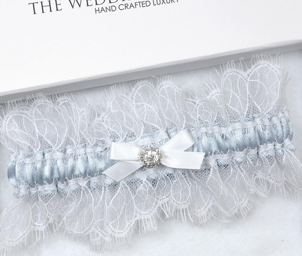Something Blue Wedding Garter Bridal Garter White Garter