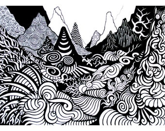 Imagined Landscape - A3 Digital Print - Psychedelic - Abstract Art - Drawing