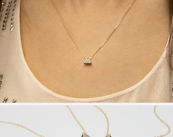 Triangle Diamond Necklace, 14k Gold Filled Chain, Dainty Gold Necklace, minimal Delicate Necklace with CZ stones