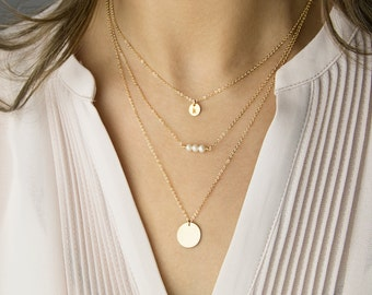 Delicate Necklace Set, Gemstone Necklace, initial necklace, 14K Gold Fill, Rose Gold Fill, Silver, Everyday gold necklace • LNS01