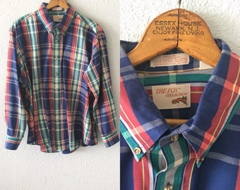 1980's The Fox Collection Men's Vintage Plaid Button Down Shirt