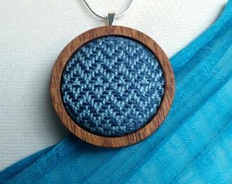 Necklace - Wrap Scrap - Handwoven - Babywearing - Keepsake - Mahogany - Silver - Blue