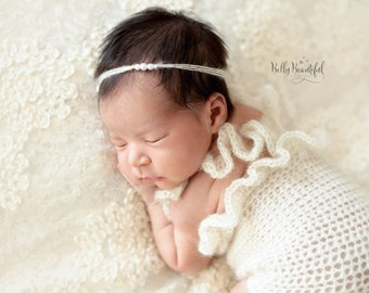 Newborn Ava Pearl Tieback with Mohair, Baby Girl Photography Prop, Shower & Coming Home Gift
