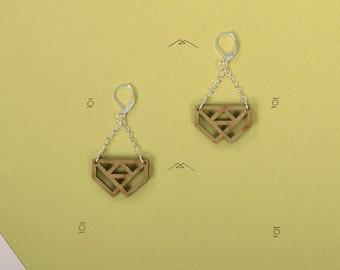 Earrings wooden WOODEARZ Logo top