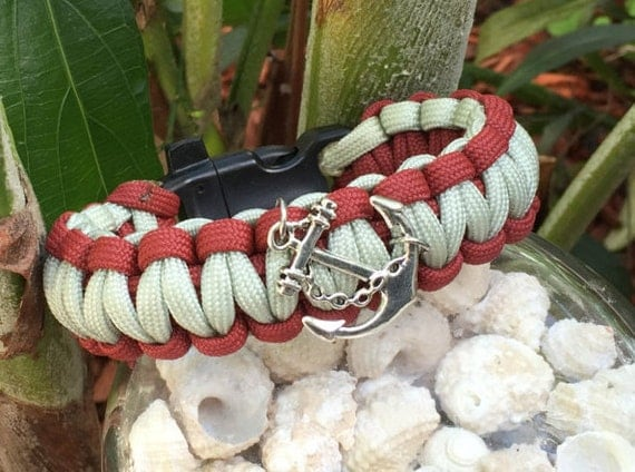 Anchor Paracord Bracelet, antigue silver anchor charm, classy casual looks