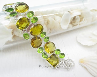 Yellow Topaz and Peridot Sterling Silver Bracelet