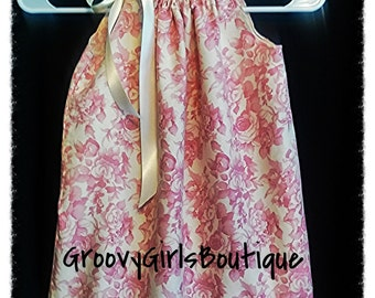 Upcycled Shabby Chic Toddler Pink Floral Pillowcase dress-3T/4T