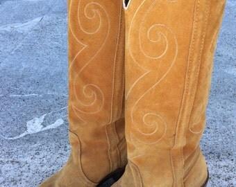 Vintage Mustard Suede Knee-High Cowboy Boots, by Dingo, Sz 7