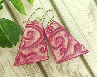 Pink earrings, Faux ceramic earrings, Flourish earrings, Funky earrings with sterling silver hooks and pins, Air dry clay, Eco friendly gift