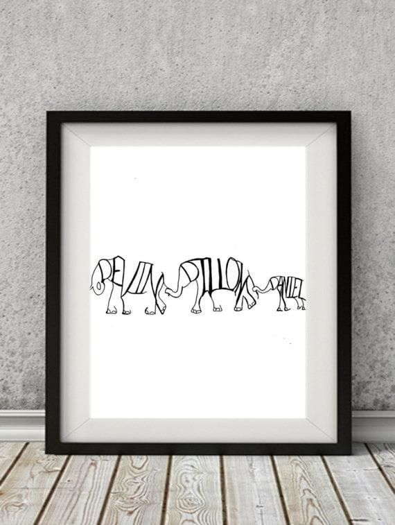 Personalized elephants home decor art print personalized name for Great home decor names
