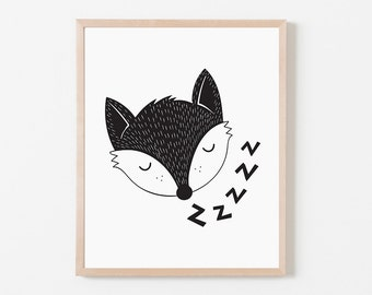 Nursery Wall Art, Black and White Art, Nursery Decor, Scandinavian Print, Printable Wall Art, Kids Decor, Sleeping Fox, Children's Wall Art