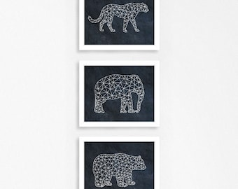 Set of 3 geometric animal prints - Geometric wild animals posters - Gallery wall print set - Printable wild animals set - Printable men gift