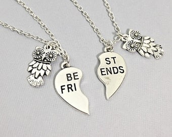 Best friend necklace, owl necklace, owl charm, bff necklace, sister, mother daughter, friendship jewelry, friends, gift for best friend