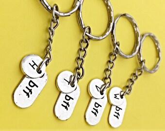 4 Best Friends - keychain - set of four, bff charm, keychain, set of 4 best friend,customized keychain,monogram,initial keychain, 4 bff gift