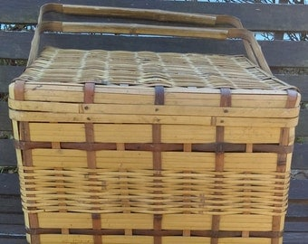 Woven Picnic Basket/ Bamboo Basket/Basket from 1950's/ basket for any use/Basket for storage/Home decor