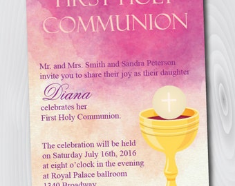 Printable Watercolor First Holy Communion Invitation/E-Card/Communion - Instant Download - Template - Confirmation Invitation/Announcement