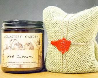 4 oz RED CURRANT Scented Soy Candle, all natural candles, vegan