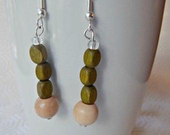 wood bead earrings - kaki and natural wood beads