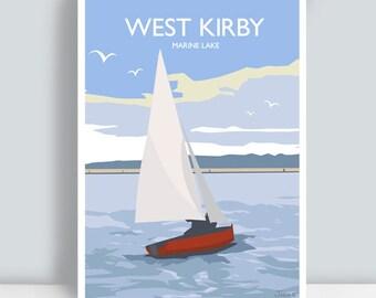 West Kirby, Marine Lake, Wirral. Art Print/Poster. PLUS FREE POSTAGE!