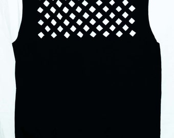 Lattice Cutout Tank Top / Summer Cut Out Shirt / Cut Off Sleeves