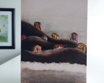 Card The Village / Illustration / The Handsomest Drowned Man in the World / Town by the sea / Home / Blank A6 card