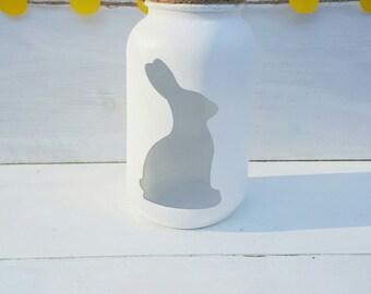 Bunny Mason Jar - Easter Bunny Mason Jar - Easter Decor - Spring Decor - Chalk Paint Mason Jar - Bunny Decor - Easter Party Decorations