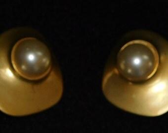 Gold tone faux pearl clip on earrings