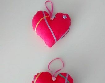 Pretty Pink Fabric Hanging Heart Trio