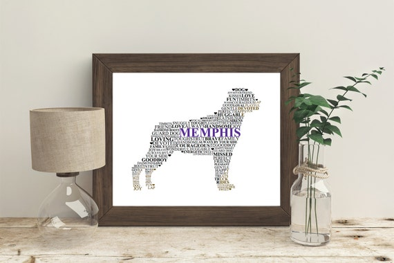 Personalized Rotweiller Word Art Picture, Dog Art, Dog Word Art, Perfect for a Dog Owner, In Memory, Vet, *A Digital Printable File*