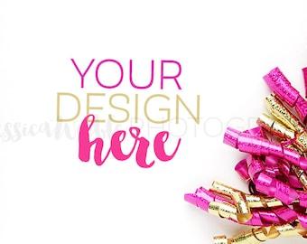 Fuchsia + Gold Glitter Ribbon Curls Styled Desktop 2, Styled Stock Photography, Styled Mockup, Product Background Photo, Feminine Stock #18
