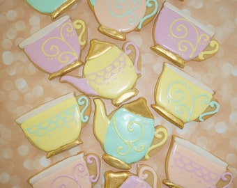 Tea Party Cookies, Shower Favor, Luncheon, Dessert Table, Party, Bridal,Wedding Cookies, Rehearsal Dinner Favors