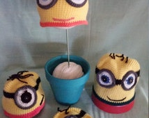 Child's Minion Inspired Crocheted Hat, Crocheted Minion Hat, Despicable Me Hat, Child's Crocheted Hat