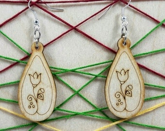 Teardrop wooden earring - jewelry - laser cut - engraved - light weight - bridal earrings - for woman - fashion - pairs - art - plywood