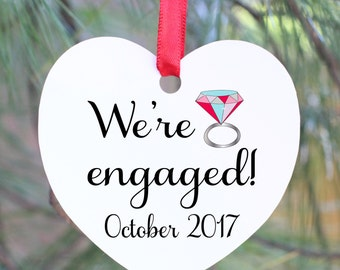 Engaged Ornament, Engagement Ornament, Personalized Engagement Gift, Engagement Christmas Ornament, Wedding Ornament, Just Engaged Gift