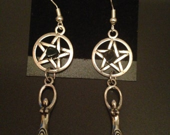 Goddess and pentacle earrings / Goddess and pentacle earrings