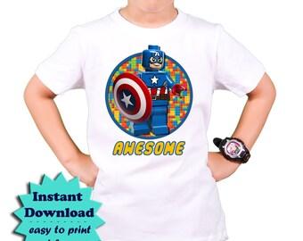 Lego Captain America iron on transfer - DIY Lego T shirt - Lego Birthday Party T-shirt -  Lego Iron on transfer applique Instant Download
